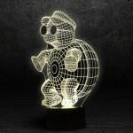 3D Нічник зі світлодіодною панеллю «Черепашка з окулярами»