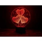 3D Нічник зі світлодіодною панеллю «I love you»