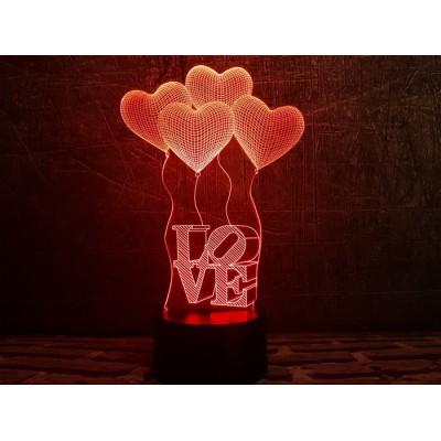 3D Нічник зі світлодіодною панеллю «Сердечки LOVE»