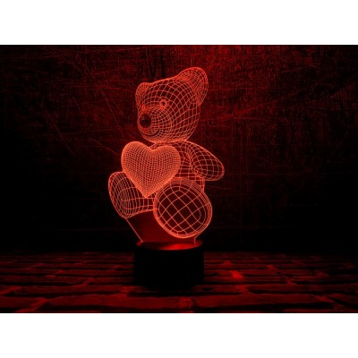 3D Нічник зі світлодіодною панеллю «Ведмедик з шариком-сердечком»