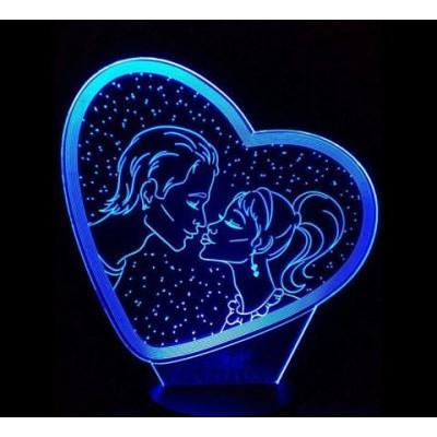 3D Нічник зі світлодіодною панеллю «Закохані»