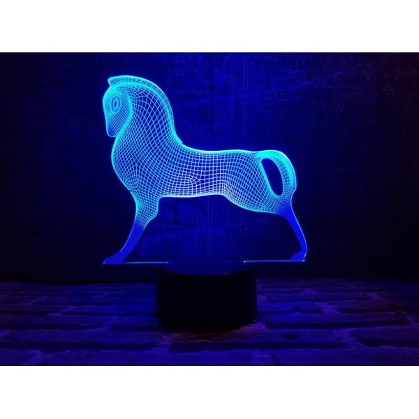 3D світильник Срібний кінь