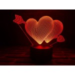 3D світильник Два серця з стрілою
