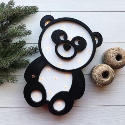 Дерев'яний дитячий світлодіодний нічник Панда