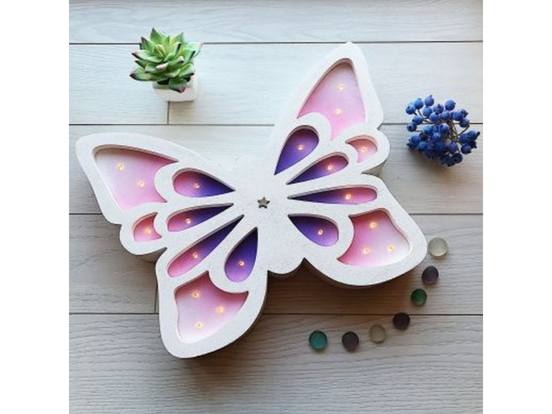 Світлодіодний дитячий нічник з дерева Метелик