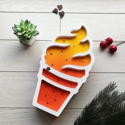 Яскравий світлодіодний нічник з дерева для дітей Морозиво