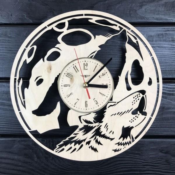 Настінний годинник з дерева Повний місяць