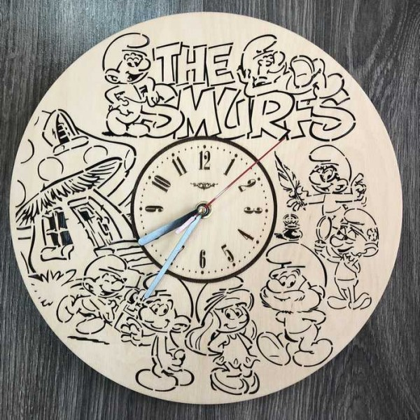Дитячий настінний годинник Смурфіки