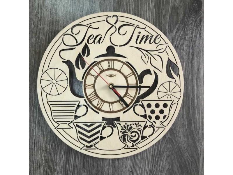 Універсальний безшумний дерев'яний настінний годинник в інтер'єр Час чаю