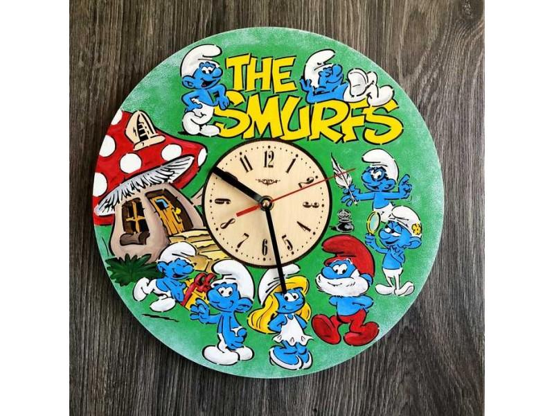 Дитячий настінний годинник кольоровий Смурфики