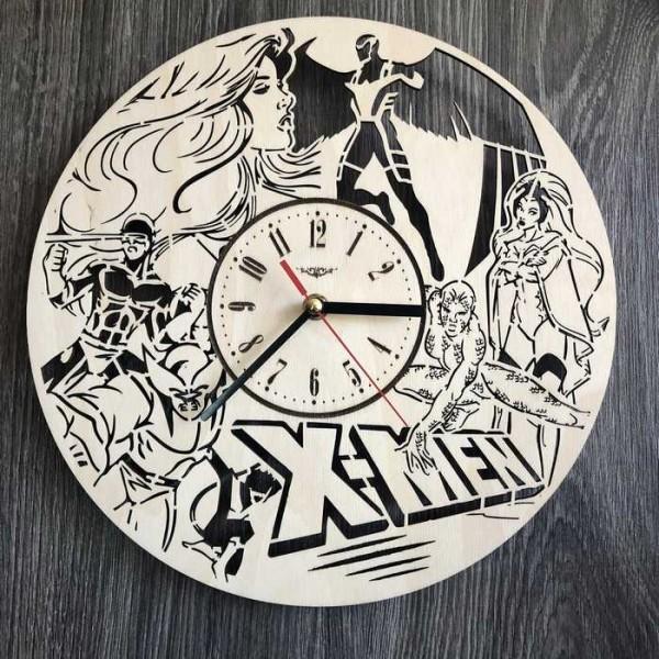 Дизайнерський настінний годинник з дерева Люди Ікс