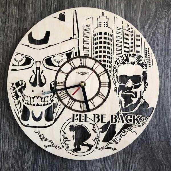 Дизайнерський настінний годинник з дерева Термінатор