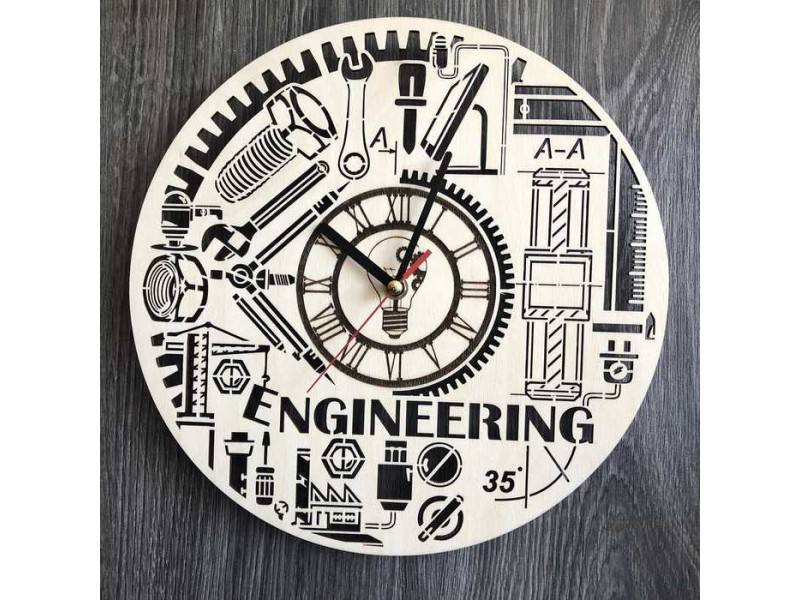 Тематичний інтер'єрний настінний безшумний годинник Інженерія
