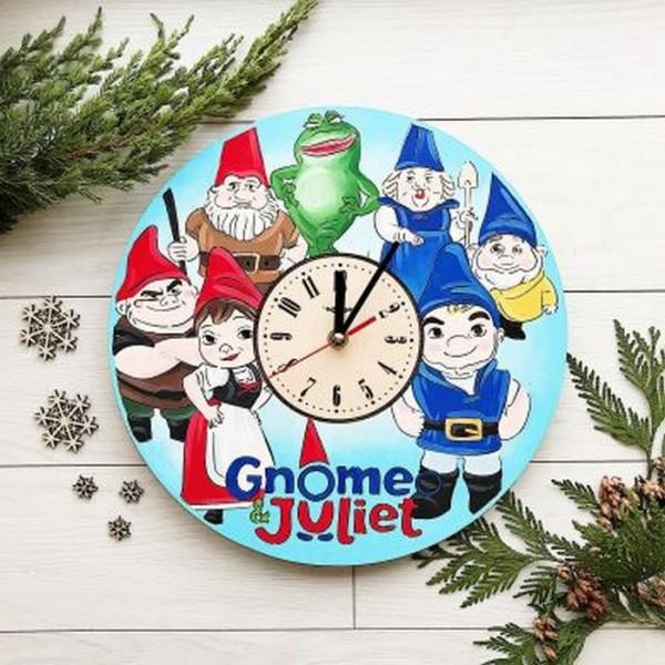Дитячий настінний годинник з дерева Гномео і Джульєтта