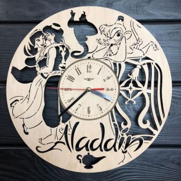 Дитячий настінний годинник з дерева Aladdin