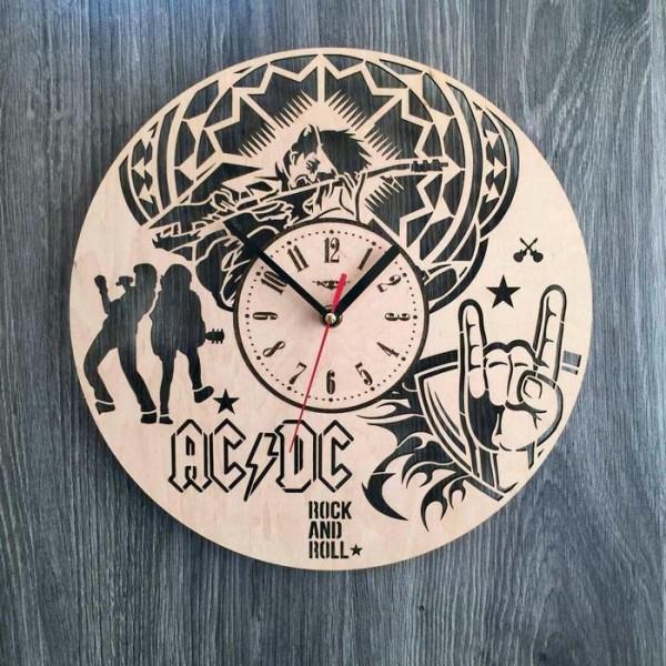 """Настінний годинник з дерева ручної роботи """"AC/DC"""""""