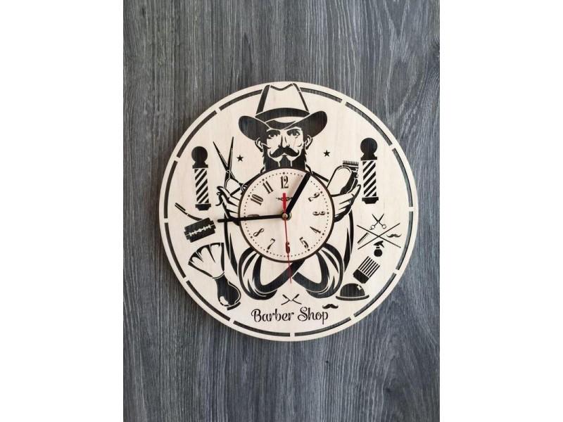"""Настінний годинник з дерева """"Барбершоп"""""""