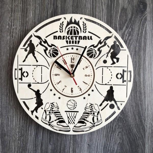Круглий годинник з дерева на стіну Баскетбол