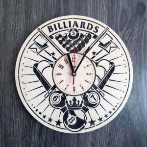 Дерев'яний годинник на стіну Більярд