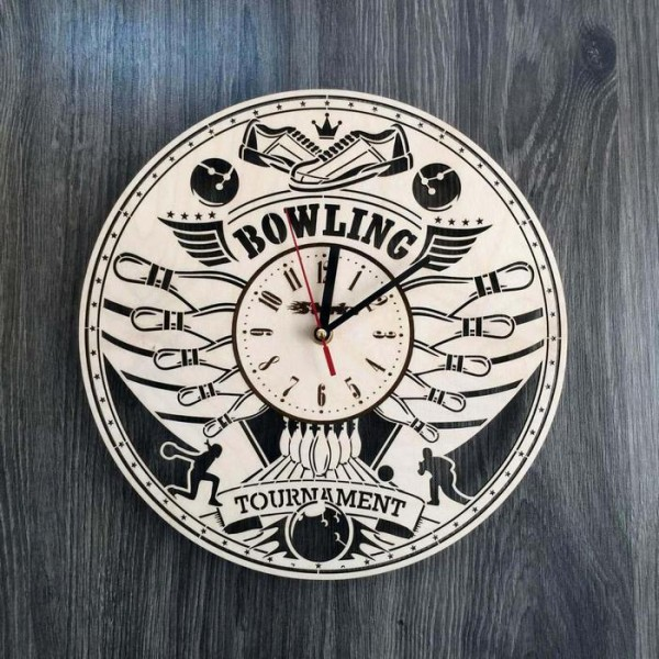 """Дерев'яний круглий годинник на стіну """"Боулінг"""""""