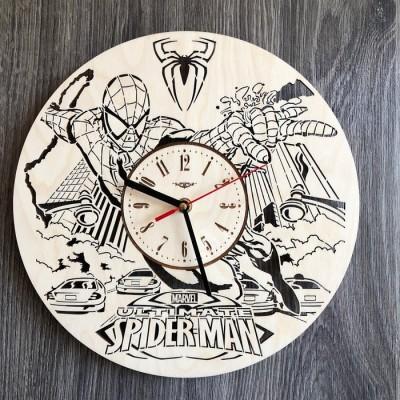 Дизайнерський настінний годинники з дерева Людина-павук