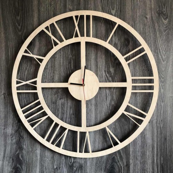Безшумний настінний годинник з дерева в інтер'єр з універсальним дизайном