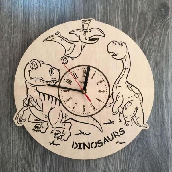 """Настінний годинник з дерева """"Динозаври"""""""