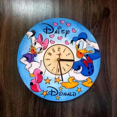 Дитячий кольоровий настінний годинник з дерева Дональд Дак і Дейзі Дак