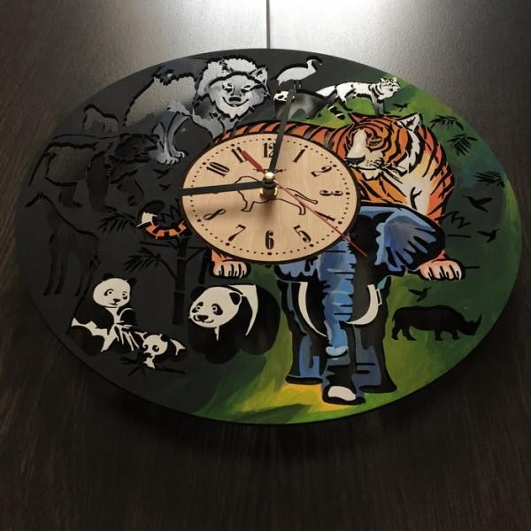 """Настінний годинник з дерева """"Джунглі"""""""
