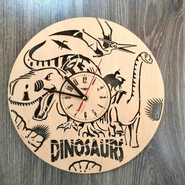 """Настінний годинник з дерева """"Епоха динозаврів"""""""