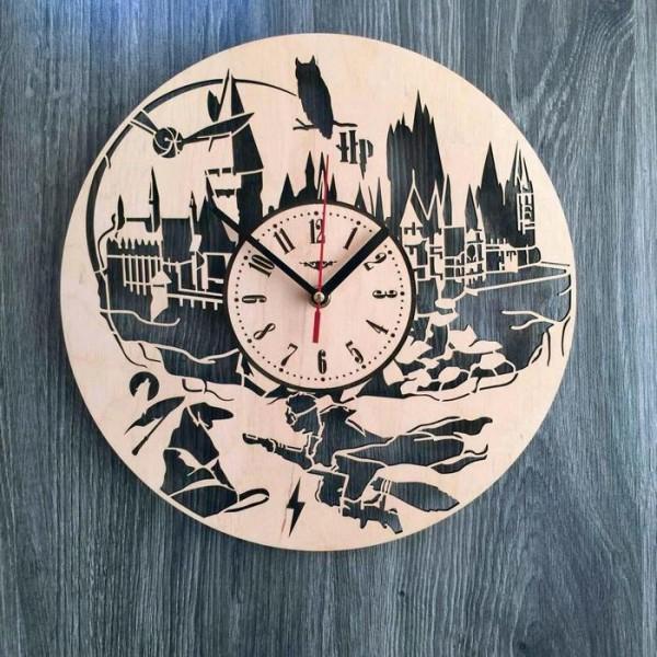 """Настінний годинник з дерева """"Гаррі Поттер"""""""