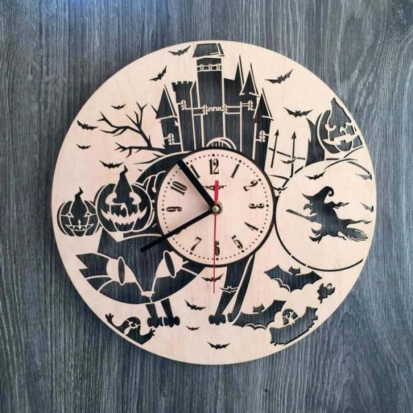 """Настінний годинник з дерева """"Хелловін"""""""