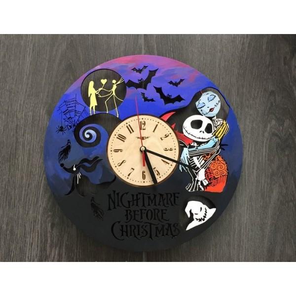 """Настінний годинник з дерева """"Жах перед Різдвом"""""""