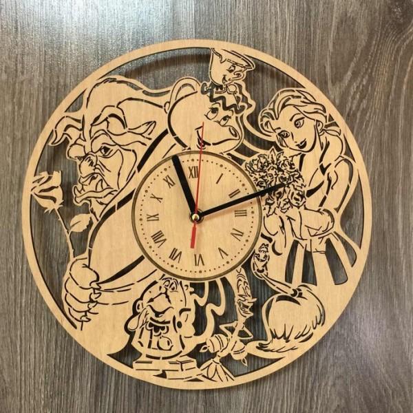 """Настінний годинник з дерева """"Красуня і чудовисько"""""""