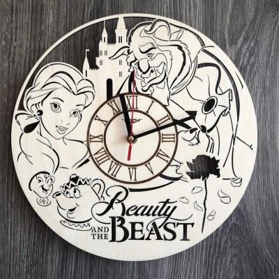 """Круглий оригінальний настінний годинник з дерева """"Красуня і чудовисько"""""""