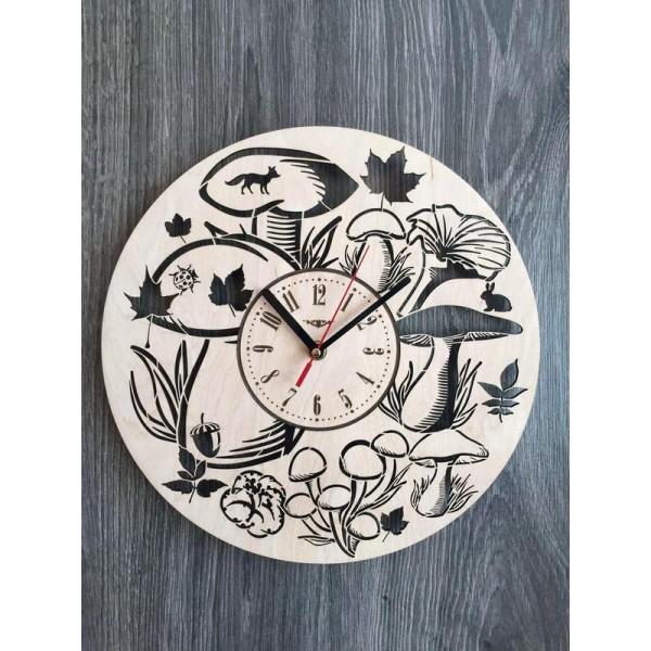 """Настінний годинник з дерева """"Лісні гриби"""""""