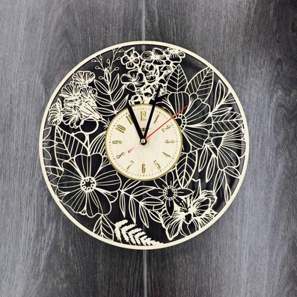 """Настінний годинник з дерева """"Літні квіти"""""""