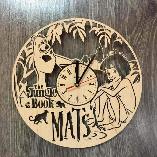 """Настінний годинник з дерева """"Мауглі"""""""