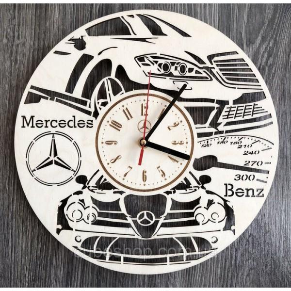 Стильний годинник з дерева настіну Mercedes-Benz