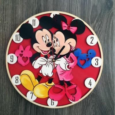 Дитячий настінний годинник з дерева кольоровий Міккі Маус