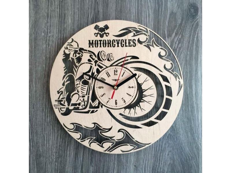 """Настінний годинник з дерева """"Мотоцикл"""""""