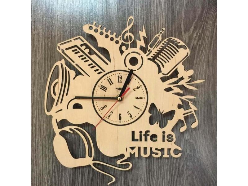 """Настінний годинник з дерева """"Музика"""""""