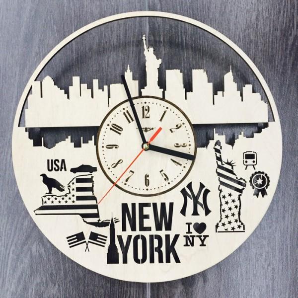 """Настінний годинник з дерева """"Нью-Йорк"""""""