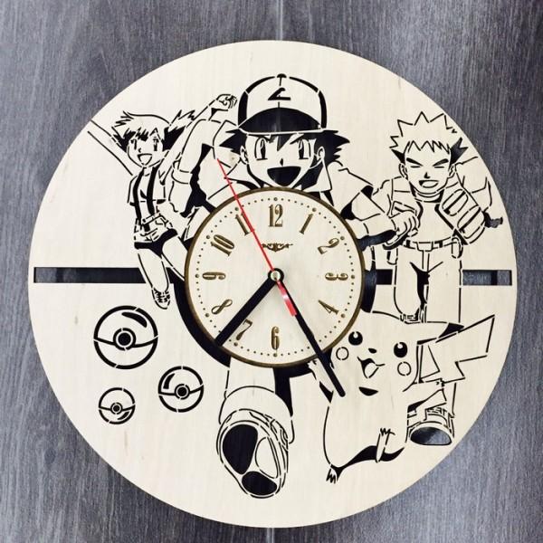 """Настінний годинник з дерева """"Покемони"""""""