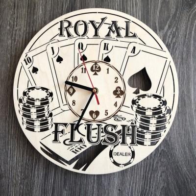 """Безшумний настінний годинник з дерева """"Покер"""""""