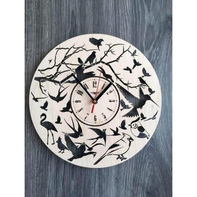 """Круглий настінний годинник з дерева """"Пташки"""""""