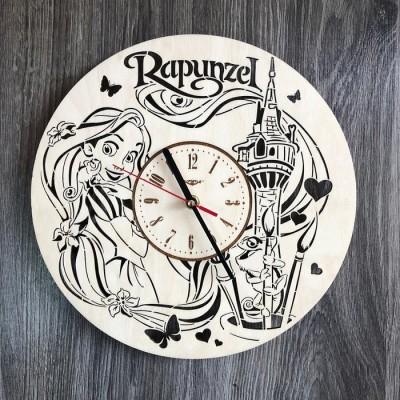 """Дитячий круглий безшумний настінний годинник """"Рапунцель"""""""