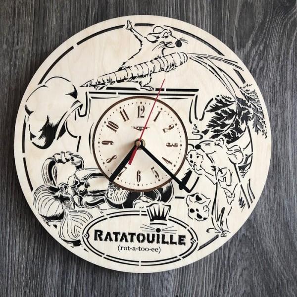 Безшумний дитячий настінний годинник з дерева Рататуй