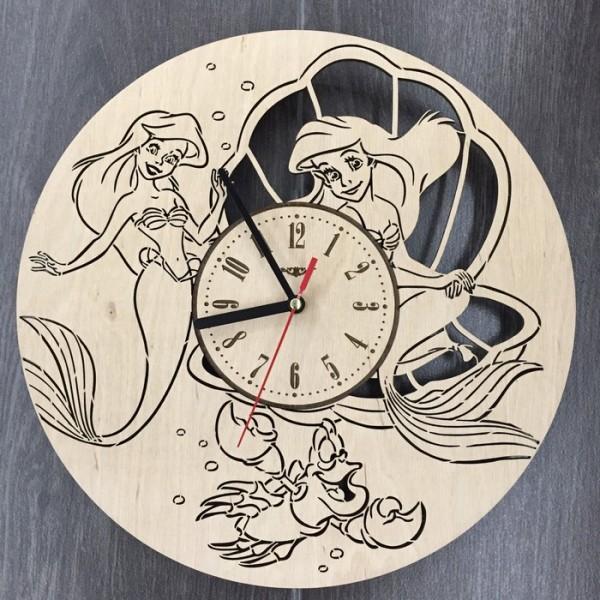 """Настінний годинник з дерева """"Русалочка Disney"""""""