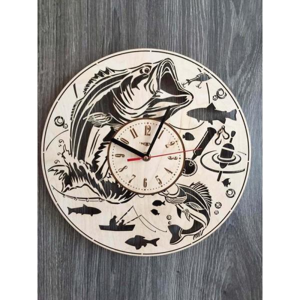 """Настінний годинник з дерева """"Рибалка"""""""